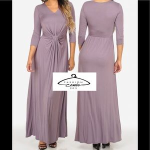 🆕 3/4 Sleeves V Neck Ruched Maxi Dress